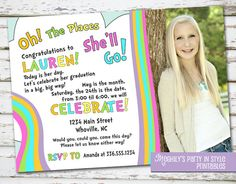 Oh The Places You'll Go  graduation invitation with photo by Meghilys on Etsy, $12.00