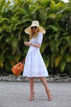 White dress AND STRAW HAT-- SUMMER outfits, preppy outfits, vacation style, ------ F+ F+clothes enough fashion, vacation clothes my style, fashion women's fashion,