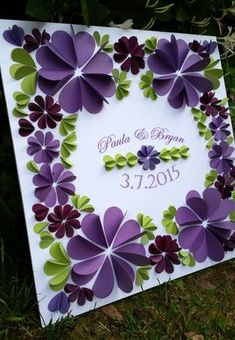 "Wedding Banner 3/D Guest Book 20""x20"" - Personalized Signature Guestbook Art Print - Choose your Colors"