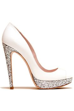 Miu Miu White Glitter Pumps