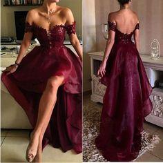 RightBrides 42080 | Burgundy Prom Dresses 2017, Stylish Burgundy Lace High Low Prom Dress, Burgundy Formal Dresses