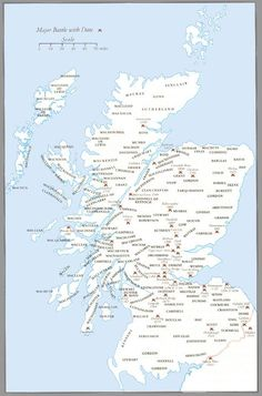 Clan Map of Scotland The Gaelic word Clann means children and the central idea of Clanship is Kinship. Scotland Map, Scotland History, Scotland Travel, Skye Scotland, Scottish Gaelic, Scottish Highlands, Scottish Kilts, Clan Castle, Gaelic Words
