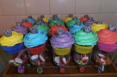 Princess Rainbow Cupcakes - Cupcakes and lolly bags in one.