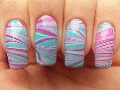 Meg's Manicures: Pinks And Blues Water Marble