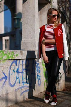 pants & top - Zara / college jacket - Ottoversand / sneakers - Deichmann / bracelet & earrings - Forever 21 / sunglasses - no name / rings - C&A Name Rings, No Name, Forever 21, Zara, College, Bracelet, Sunglasses, Sneakers, Casual