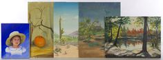 """Lot 303: Ti Tolpo Bader (American, 20th Century) Oil Painting Assortment; Five items including 1994 """"Samantha"""" oil on canvas portrait, 1975 """"Walden Pond"""" oil on board, 1979 """"Paradise Valley"""" oil on board, 1971 """"Lost Dutchman"""" oil on board and 1979 """"Pumpkin"""" oil on board"""