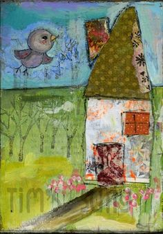 My home is my nest.original by mindylacefield Secret Squirrel, Over The Rainbow, Art Journal Pages, Blue Bird, Mixed Media Art, Textile Art, Painting & Drawing, Art Projects, Canvas