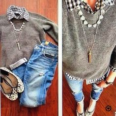 This is the most adorable outfit!! Grey crew neck sweater with black and white buffalo check shirt. Paired with distressed jeans and those cute leopard print ballet flats!! Perfect!! See other outfit ideas for women over 40 #ootd #outfitideas #falloutfits #weekendlooks