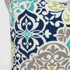 Outdoor pillow Patio cushion Aqua navy blue by ClassicByNature, $32.00