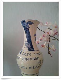 Pass-through vase. Delfs blue technic.  (doorgeefvaas)