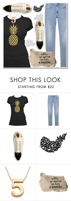 """""""Golden pineapple"""" by paculi ❤ liked on Polyvore featuring Lanvin, Black Lace Skin Jewelry, Sweet Sentiments, StreetStyle and casual"""