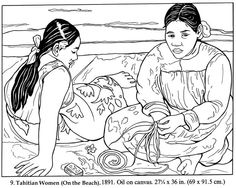 Free coloring page coloring-gauguin-femme-tahitienne. Adult coloring page inspired by a painting by Paul Gaughin representing Tahitian women Paul Gauguin, Colouring Pages, Adult Coloring Pages, Free Coloring, Art Sketches, Art Drawings, Artists For Kids, Art Base, Art Plastique