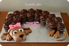 Doxie birthday cupcakes use your imagination for the head,feet&tail. I'd use peanut butter cookie dough. Form and bake.