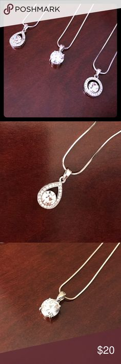 Rhinestone Necklace Assortment Teardrop, Round Solitaire, and Round Pendant. Silver plated. Metal alloy. 2 of each available. Jewelry Necklaces