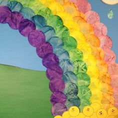 Set preschoolers loose with coffee filters, eye droppers and bright liquid water colors..and create a beautiful rainbow for your SPRING bulletin board :)