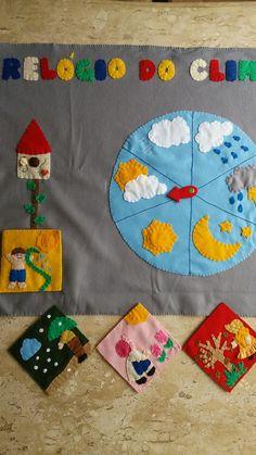 Relógio do clima, material didático, estações do ano, crianças  na pré escola . Em feltro  totalmente artesanal.