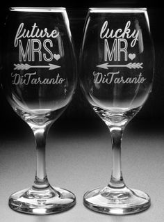 Future MRS and Lucky MR Engagement Gifts for Couple | Personalized Engagement Glasses | Bridal Shower Gift | Engagement Party Glasses by JuliesHeart on Etsy