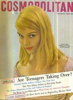 Cosmopolitan magazine, NOVEMBER 1957  Carol Lynley on cover.