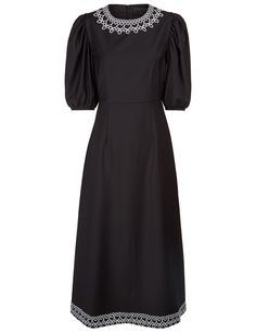 Paskal. Black Puffball Sleeve Lace Trim Dress