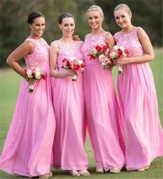 Country Pink Lace Bridesmaid Dresses 2016 Jewel Neck Lace Appliques Chiffon A Line Prom Gowns Wedding Guest Dress Floor Length Affordable Bridesmaids Dresses African Bridesmaid Dresses From Dmronline, $86.84| Dhgate.Com