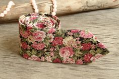 Floral Olive Wedding Tie / Men's skinny Pink Roses tie / Necktie for Men FREE GIFT by TheBestBoysTies on Etsy
