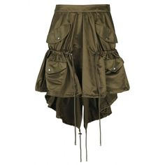 Shop DRAWSTRING NYLON CARGO SKIRT for at Elite Store ($915) ❤ liked on Polyvore featuring skirts, drawstring skirt, cargo skirts, nylon skirt and brown skirt