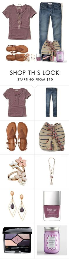 """""""Hollister Lace-Up Washed Baby T-shirt"""" by akgsteeler ❤ liked on Polyvore featuring Hollister Co., Aéropostale, Guanábana, Accessorize, INC International Concepts, Bite, Christian Dior, Cost Plus World Market and Express"""