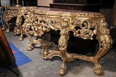 Pair Italian Rococo Console Tables Carved Gilt Wood