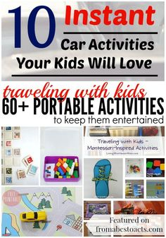 Planning a trip this summer? Keep the kids entertained either while on the road or in the air with these 60 portable travel activities! Kids Travel Activities, Road Trip Activities, Road Trip Games, Airplane Activities, Toddler Travel, Travel With Kids, Family Travel, Road Trip With Kids, Family Road Trips