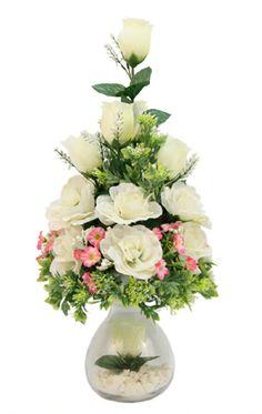 Centro de mesa para Boda / Blanco. Arreglo de flores/plantas con base de cristal