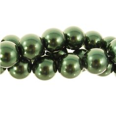 12mm Glass Pearl Round Bead Strand, Evergreen