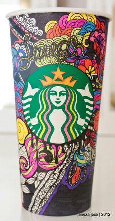 Starbucks Art by on deviantART Starbucks Tumbler, Starbucks Coffee Cups, Coffee Cup Art, Coffee Love, Iced Coffee, Starbucks Cup Drawing, Starbucks Cup Design, Starbucks Art, Starbucks Tassen