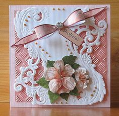 Voorbeeldkaart - Zalm kaart - Categorie: Stansapparaten - Hobbyjournaal uw hobby website Hand Made Greeting Cards, Making Greeting Cards, Pinterest Birthday Cards, Marianne Design Cards, Heartfelt Creations Cards, Spellbinders Cards, Embossed Cards, Pretty Cards, Paper Cards