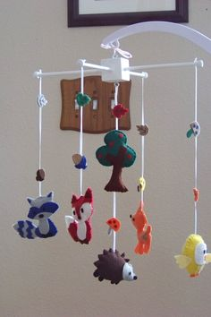"""Baby Mobile - Baby Crib Mobile - Woodland  Mobile - Nursery Baby Room """"Woodland Wonders"""" (You can pick your colors). $78.00, via Etsy."""
