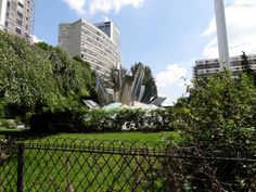 In this photo you can see the abstract metal fountain which sits on a mosaic base, designed back in 1981 by Jean-Yves Le Chevallier, which can be found within Square Bela Bartok in Paris.  Daily updates at www.eutouring.com