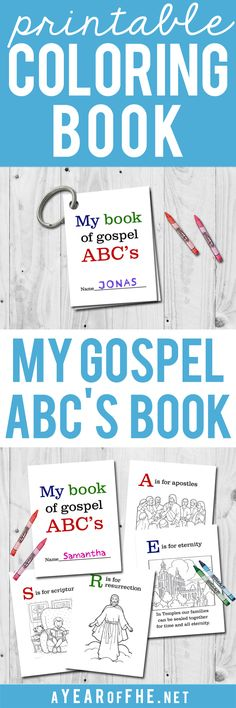 A Year of FHE // FREE LDS Gospel ABC's printable coloring book. This is so great for a quiet sacrament meeting activity! Sunday Activities, Nursery Activities, Church Activities, Activity Days, Youth Activities, Teaching Activities, Indoor Activities, Lds Coloring Pages, Printable Coloring