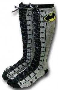 Batman Knee High Faux Lace Up Socks