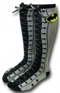 Batman Knee High Faux Lace Up Socks