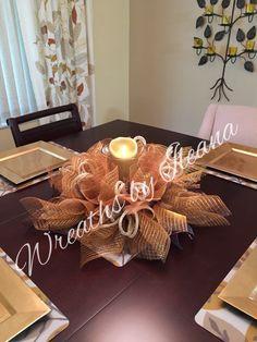 Centerpiece in gold deco mesh  Wreaths by Ileana https://www.facebook.com/pages/Wreaths-by-Ileana/690079201043178