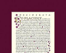 Desiderata poem Desiderata print go placidly Max Desiderata Poem, Max Ehrmann, Calligraphy Print, Beautiful Calligraphy, Paper Dimensions, Love Poems, Modern Wall Art, Inspirational Gifts, Order Prints
