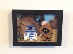 Star Wars Jawa & R2D2 perler bead 5x7 print by CustomationsArt, $18.00