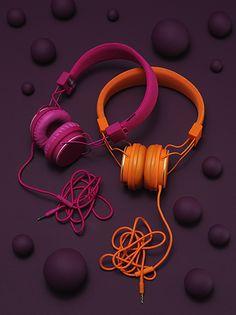 Purple and Orange headphones. #headphones #cans #music http://www.pinterest.com/TheHitman14/headphones-microphones-%2B/