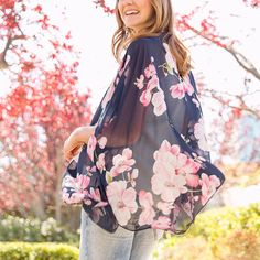 Warm spring afternoons, meet your layering match with this incredible floral kimono. (Cesilie Floral Print Kimono)