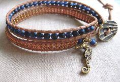 Denim and Gold double leather wrap coastal bracelet with gold seahorse charm
