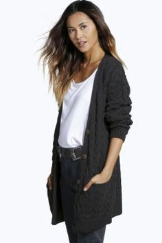 Keira Cable Twist Boyfriend Cardigan at boohoo.com