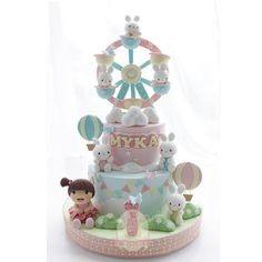 Rabbits and girl carousel cake Adult Birthday Cakes, First Birthday Cakes, Baby Shower Sweets, Baby Shower Cakes, Fancy Cakes, Cute Cakes, Fondant Cakes, Cupcake Cakes, 1st Year Cake