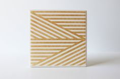 Modern Gold Geometric Coasters Hand Painted White and Gold Ceramic Tile Coasters (Fall, Anniversary, Bridal Party, Hostess Gift)