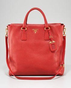 Vitello Daino North-South Tote Bag by Prada at Bergdorf Goodman. 1750