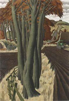 poboh: The Tractorman, Simon Palmer. English, born in 1956 - Watercolor and Bodycolor - Contemporary Landscape, Landscape Art, Landscape Paintings, Tree Art, Les Oeuvres, Cool Pictures, Art Gallery, Illustration Art, Photos