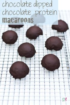 Chocolate Dipped Chocolate Protein Macaroons